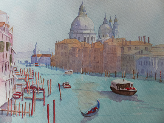 Grand Canal Venice - Surrey Art Gallery - Painting by Woking Surrey Artist David Harmer, Pirbright Art Group & Woking Society Of Arts